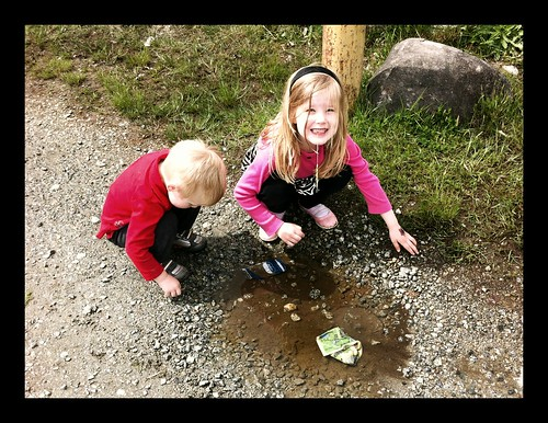 Playing in a dirty puddle