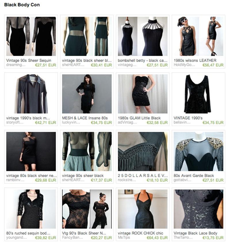 Etsy Vintage black body con dresses body suits