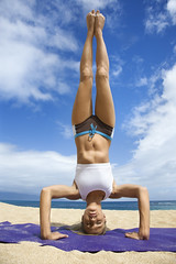 Sports & Recreation (iconicphotoservices) Tags: woman color beach vertical yoga female outdoors hawaii coast unitedstates exercise upsidedown body fulllength lifestyle maui mat health blond photograph shore tropical leisure recreation workout fitness youngadult fit headstand physical invert caucasian onepersononly physicalfitness 2025years sportsandrecreation
