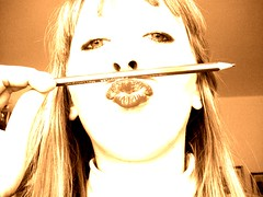 kiss (Janie's got gun) Tags: portrait people woman pencil donna lips blonde autoritratto marzia 2008 ritratto matita mady seppia