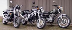 3-2-1 ... all mine (Rob de Hero) Tags: motorcycles motorcycle motorrad motorräder motorbike yamaha suzuki trtiumph sr 500 sr500 sv 650 sv650 single twin triple speed speedtriple 955i t509