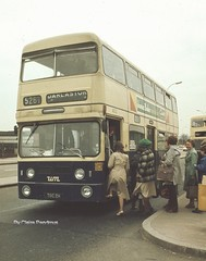 Bilston Bus Station, 1982. (Lady Wulfrun) Tags: park man west one james 1982 december baker hill transport royal april service northern 525 circular jumbo 401 daimler fleetline midlands counties withdrawn wolverhampton whitmore operated millfields omo 526 4002 delivered bodied bilston willenhall 3998 yox wednesfield wmpte reans bushbury goldthorn cgr6lx33 hill1970 tob998h toc2h
