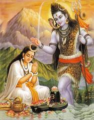 Shiva blesses Parvati