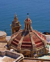 Church by the Sea (albireo2006) Tags: ocean blue red sea building church architecture harbor waves waterfront harbour malta dome valletta encarnado 5photosaday v18 abigfave travelon5photosaday taliesse valletta2018