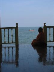 Afternoon Contemplations (Explored) (Ursula in Aus - Away) Tags: buddhism phrarachanivetmrigdayavanpalace chaam thailand buddhist monk silhouette earthasia person globalspirit explore 20080531