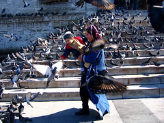 (Gabri Le Cabri) Tags: woman playing stairs turkey child pigeons istanbul mosque