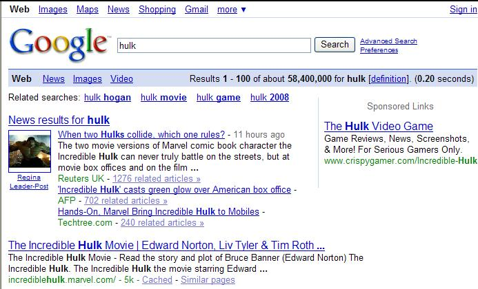 Google Search for Hulk