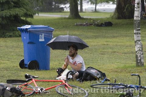 zach in rain
