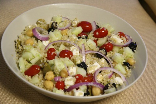 Quinoa Salad with Mediterranean Flavors: tossed together