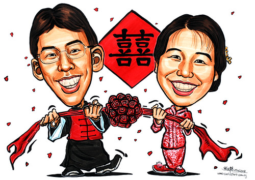 Couple caricatures Chinese traditional wedding Kua