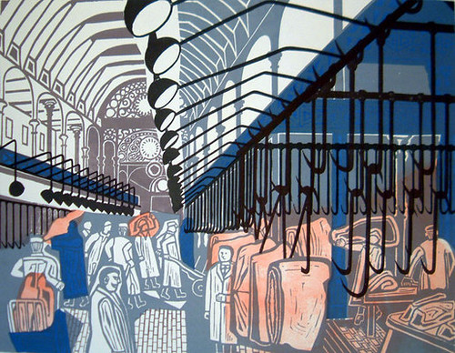 Smithfield Market, 1967 Lithograph after linocut from the series 'Six London Markets' osbornesamuel