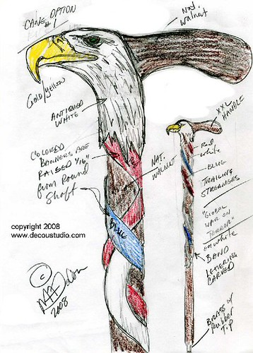 Design Sketches For An American Eagle Carved Walking Cane