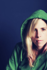 """#212/366 - """"Do You Have the Time..... (CrzysChick) Tags: portrait selfportrait green me oneaday fashion self myself hoodie clothing clothes sp hood 365 212 day212 hooded 366 project365 365days 365project threesixtyfive"""