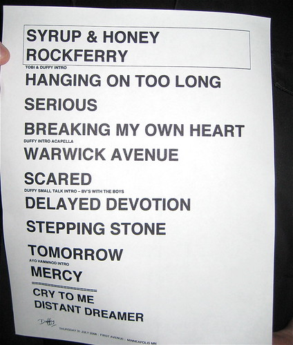 Duffy setlist Minneapolis 7/31/08
