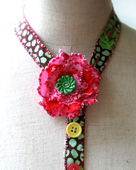 Tutti-Frutti as a 'Y' necklace (fancypicnic) Tags: pink summer brown flower floral bright buttons fabric unusual textilejewellery