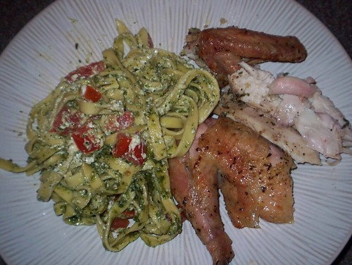 pesto pasta roast garlic thyme chicken