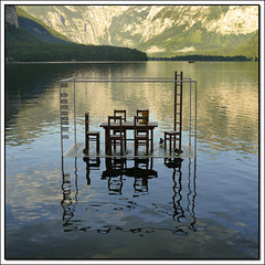 High Water (pixel_unikat) Tags: mountain lake reflection art water table austria chair installation imagepoetry justimagine hallstttersee pixelunikat