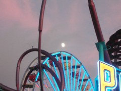 Moon over Santa Monica Ferris Wheel