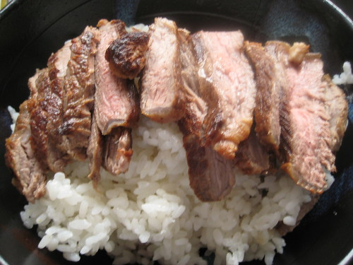Steak (sliced) on Rice