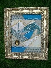 Crazy Quilt Framed (ohsohappytogether) Tags: gold turquoise framed crazyquilt