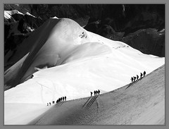 Descent to the Vallee Blanche (Cold Mountain) Tags: blackandwhite bw mountains alps chamonix montblanc mountainsnaps