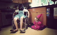 Because gorillas are just that interesting. (olivia bee) Tags: kitchen photoshoot mask gorilla princess wheelchair models dressup sweetpea lillie teenagephotographer oliviabee