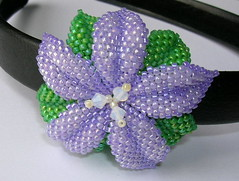 Purple Flower Headband (fivefootfury) Tags: flower green petals purple violet lilac beaded headband hairaccessory