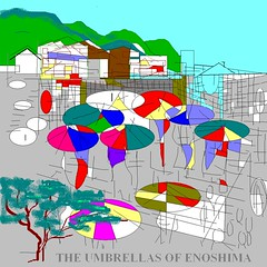 THE UMBRELLAS OF ENOSHIMA (roberthuffstutter) Tags: art japan tokyo fuji mt paintings illustrations yokohama 1960s poems sketches japaneseart tourofduty paintprogram japanesedrawings japaneseillustrations japanesepictures huffstuttersart sketchesofjapan huffstuttersjapan1960s enoshimatrainstation japanesesketches huffstuttersdrawings japaneseportfolio assortedjapanesedrawings