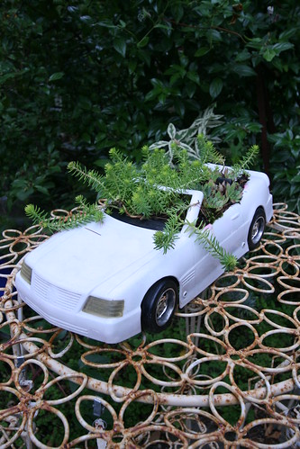 Barbie dream car as succulent planter