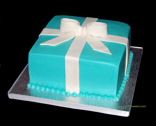Tiffany blue package bridal shower cake originally uploaded by Simply