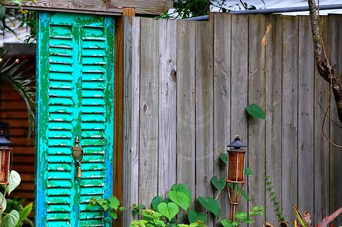 Brass Knob on Blue Shutter