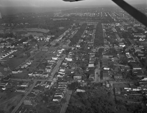 Aerial photo of the 1951 Byrd Park Tornado's damage path