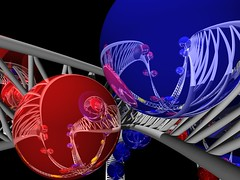 Mobius roller coaster close-up (fdecomite) Tags: blue red color yellow geometry render math roller coaster mobius povray