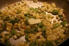 limas and corn with butter