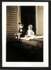 Mickey Mouse Kid & Baby Halloween Costume (Brechtbug) Tags: my dad wearing mickey mouse halloween costume sitting next his baby sister circa 1937 cartoon character disney holiday 1930s vintage 1939 kid