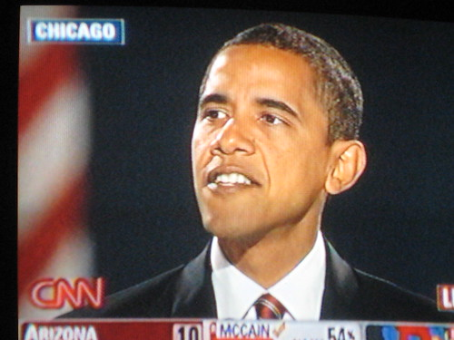 Obama giving historic Election Night speech