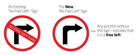 No Free Left Turn Sign