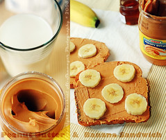Peanut Butter & Banana Sandwich (Mashael Al-Shuwayer) Tags: food cup digital canon eos 50mm milk sandwich banana butter saudi arabia peanut goody internationalfood 400d mashael alshuwayer
