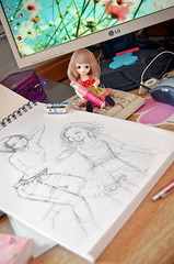 Today's desk (Lola  Atelier Momoni +) Tags: mono pc doll desk drawing nana bjd draw wacom mydesk pf pocketfairy marimeko