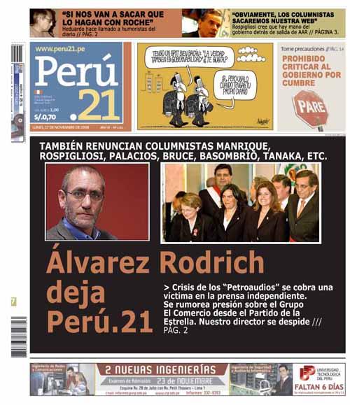 Peru 21 Augusto ílvarez Rodrich Director Renuncia