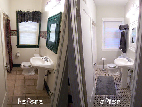 Here is the bathroom before and after