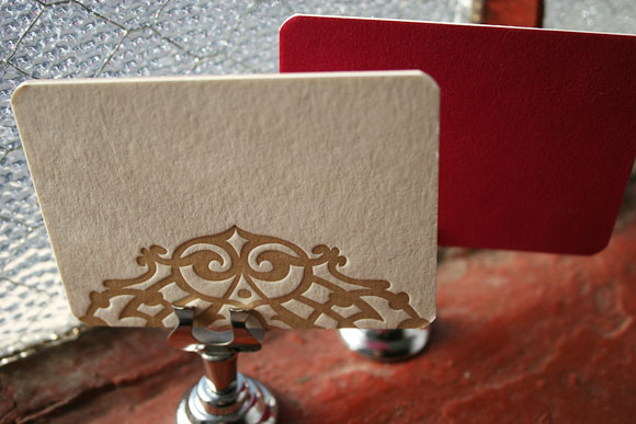 Letterpress place cards by Smock - Lashar design