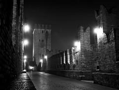 Verona (Alvise Dorigo) Tags: blackandwhite italy tower castle architecture lights nikon italia torre nikond50 ponte verona luci piazza castello architettura luce biancoenero notturno castelvecchio storico veneto storia piazzabra pontepietra storica piazze