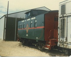 Preserved Chicago & Eastern Illinois Railroad caboose. The Illinois Railway Museum. Union Illinois. June 1981.