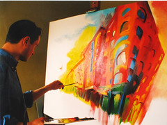 Painting at the Tower - Stephen B Whatley, 2000 (Stephen B Whatley) Tags: uk windows england orange detail building london art architecture painting studio paint artist 2000 vibrant perspective millenium canvas creation painter expressionism expressionist toweroflondon palette damncool stkatharinedocks mywinners platinumphoto goldstaraward stephenbwhatley