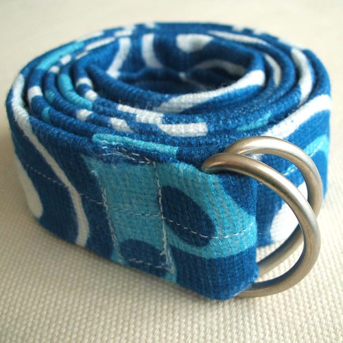 cobalt blue and pure white vintage fabric belt