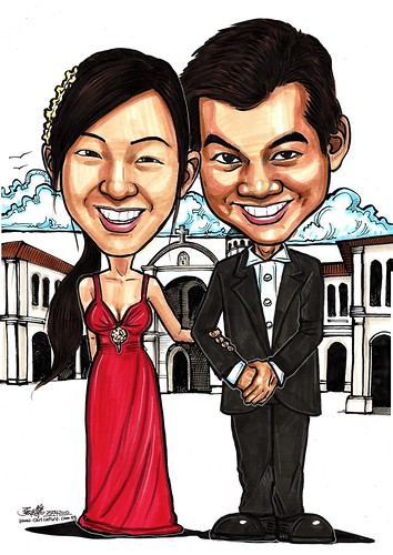 Wedding couple caricatures @ Singapore Art Museum A3