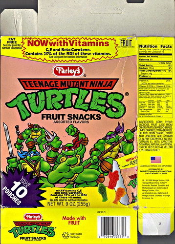 "Farley's ""Teenage Mutant Ninja Turtles"" Fruit Snacks - 'Pepperoni Puzzler'  i (( 1996 ))"