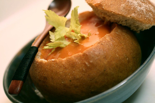 Soup in Seasoned Bread Bowls