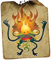 Tarot (BlueFlip Art) Tags: print poster flames demon giclee blueflip creatureart